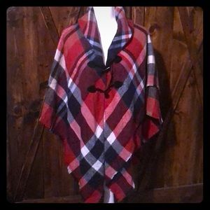 Accessory St New York Plaid Cape One Size